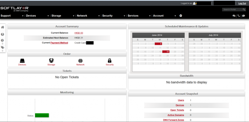 Customer Web Portal Dashboard